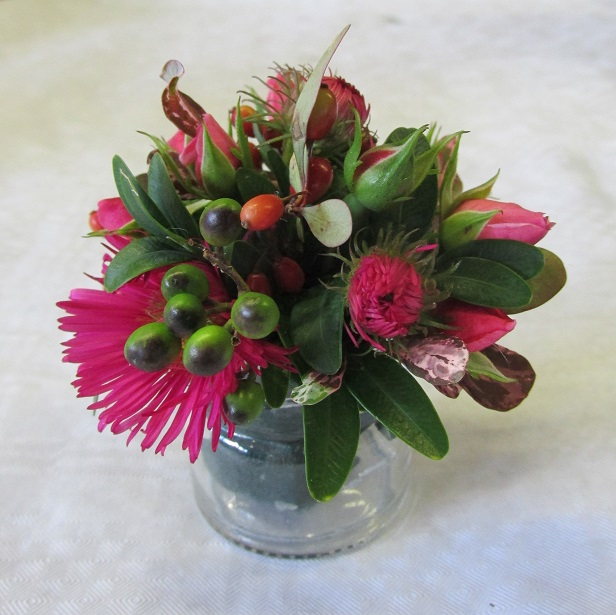 A miniature flower arrangement