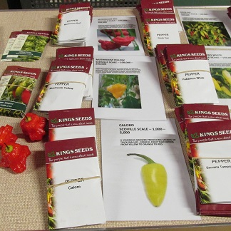 Packets of chilli seeds