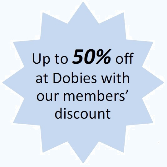 A blue star saying 'Save Up to 50% off at Dobies with our members' discount'