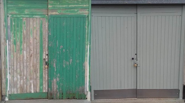 Trading Store doors before and after painting