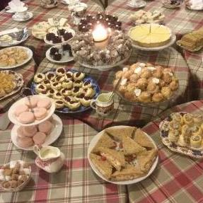 A spread of food in the tea room