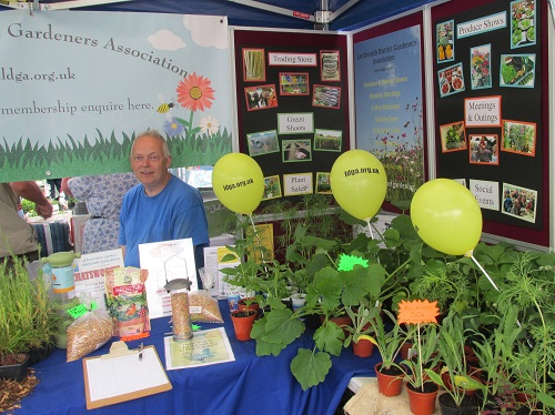 Dave Squire manning the stall with all the plants for sale.