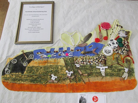 A collage in the shape of a football boot from Northfields School Gardening Club entitled 'Sport'