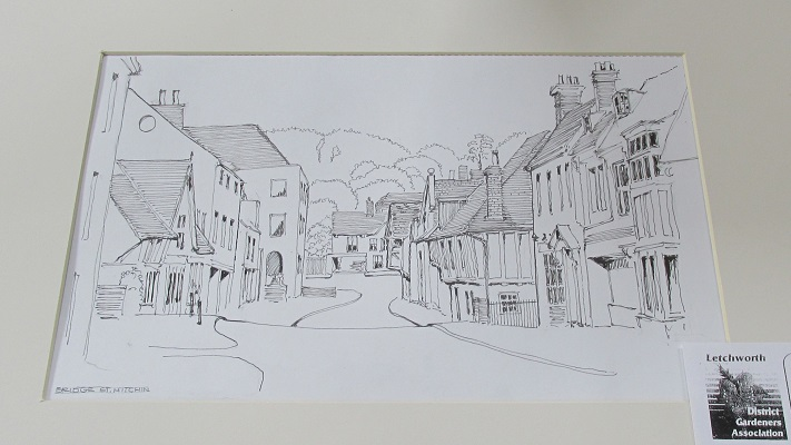 An ink drawing of Bridge Street, Hitchin