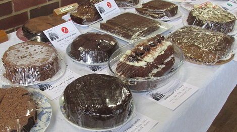 A display of chocolate cakes