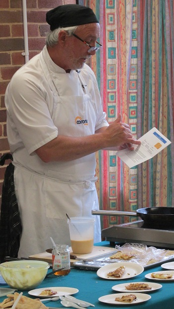Chef, Andrew Wakeford demonstrating another of his recipes