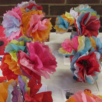 Colourful paper flowers from the children of Northfields School