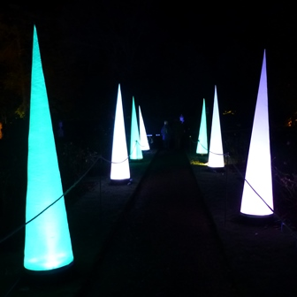 Winter lights at Anglesey Abbey - tall illuminated cones along the path