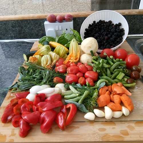 A large display of summer produce