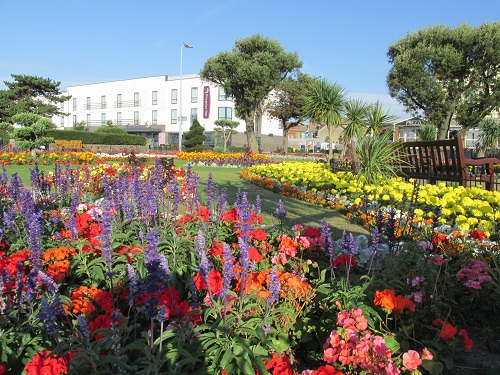 A view of flower gardens at Clacton; reds, purples and yellows plus a park bench